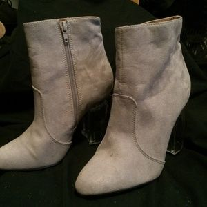 Beige boots with clear heel in size 7
